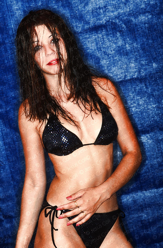 Sexy girl on bikini and ring flash
